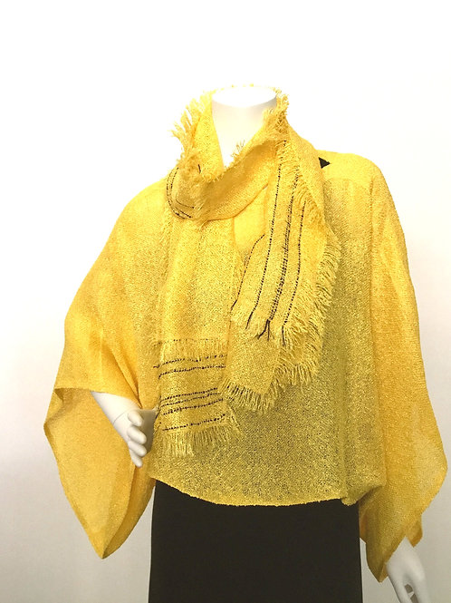 Yellow handwoven Sweater with coordinating Lisa Scarf