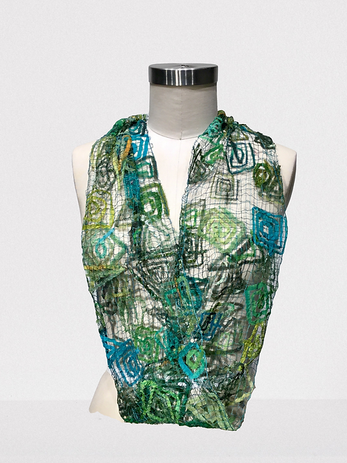 Greens/turquoise Infinity thread lace scarf by Ann Lee