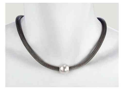 EZ20 Black mesh necklace with bead by Erica Zap
