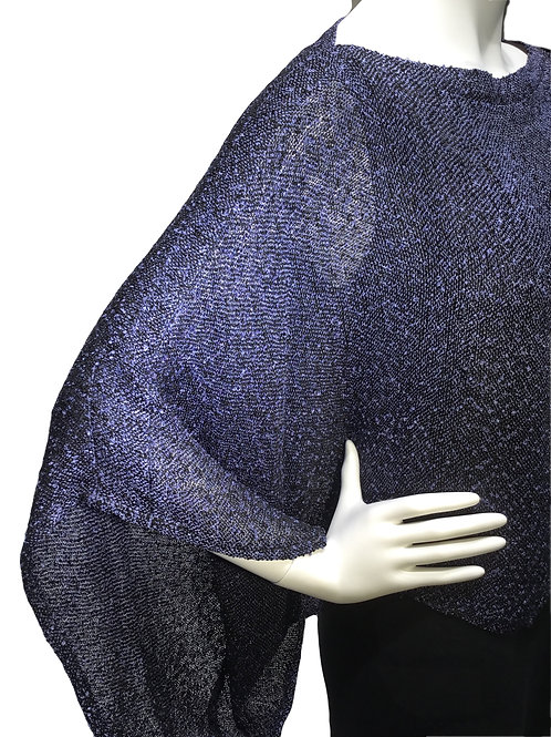 Periwinkle/black handwoven sweater