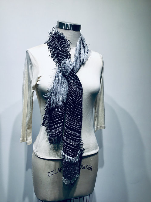Handwoven pieced scarf in rayon boucle grey and black