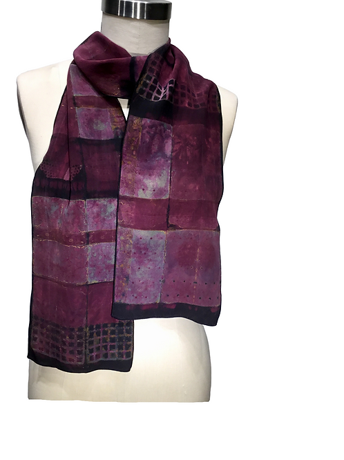 Hand dyed shibori silk Scarf by Betsy Giberson