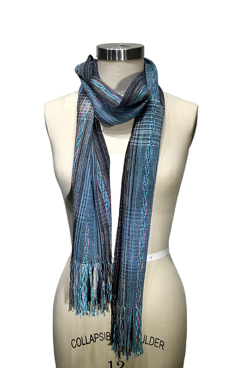 Handwoven Scarf with intricate hand made braids by Kathy Weigold