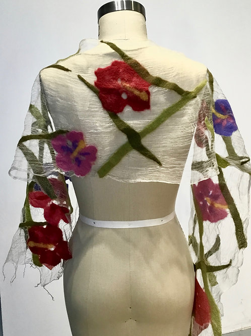 BF191  Floral illusion scarf by Barbara Poole