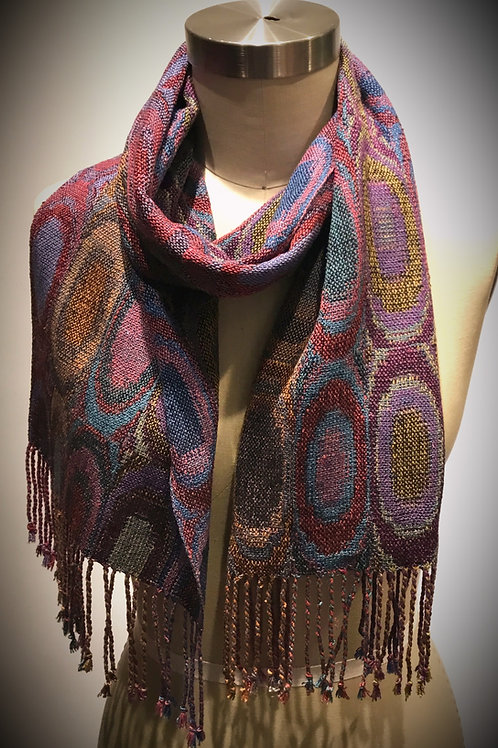 Ovals hand woven scarf by Muffy Young