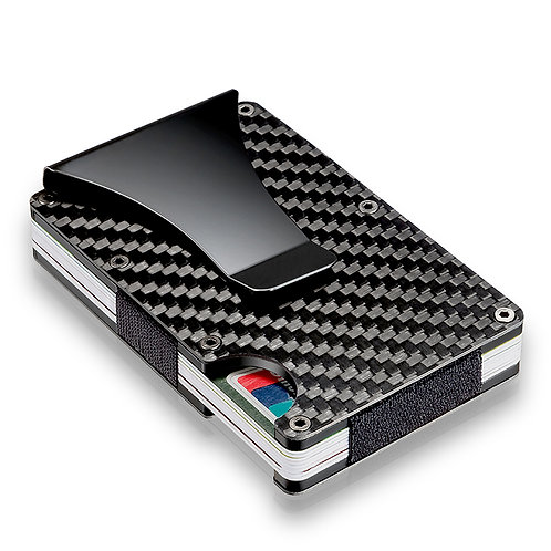 Slim Carbon Fiber Credit Card Holder RFID Blocking with Money Clip