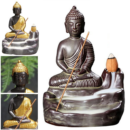 Ceramic Buddha Backflow Incense Burner including 10 Incense Cones