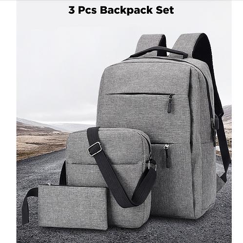 3Pcs Backpack Set 20.8L 15.6-inch USB Charging Port Waterproof