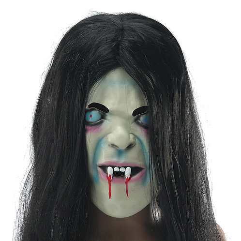 Scary Long Hair Ghost Full Face Latex Masks