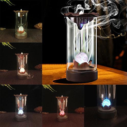 LED Backflow Incense Burner including 10 Incense Cones