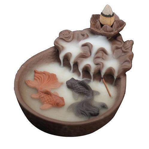Ceramic Backflow Incense Burner with Fish Pond Decor