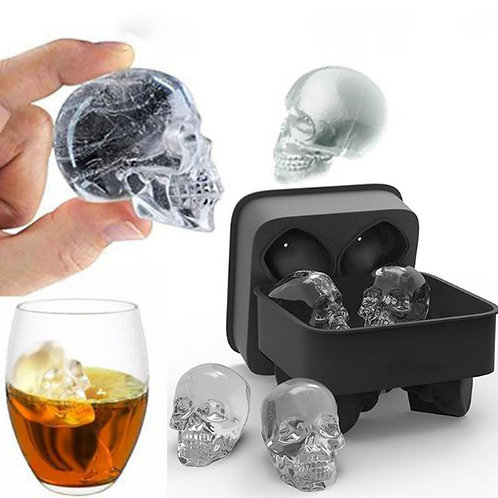 KCASA 3D Skull Flexible Silicone Ice Cube Mold Tray