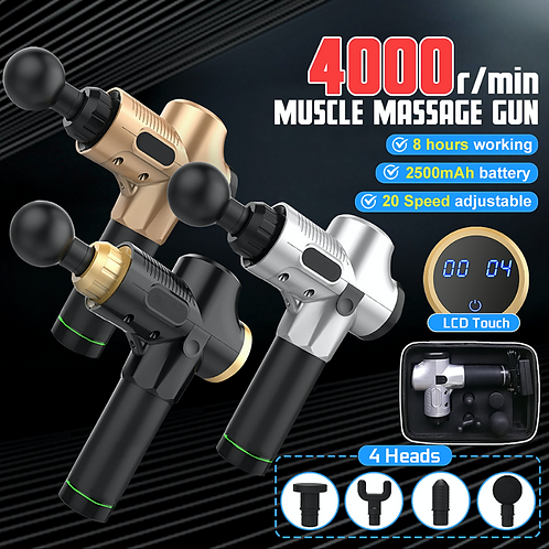 Electric Percussion Massager Gun, Cordless, LCD Touch
