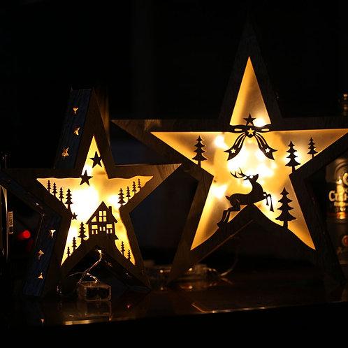 Wooden Star Christmas LED Light Lamp
