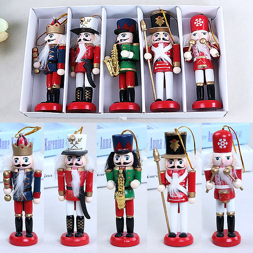 5Pcs Wooden Nutcracker Soldier Colored