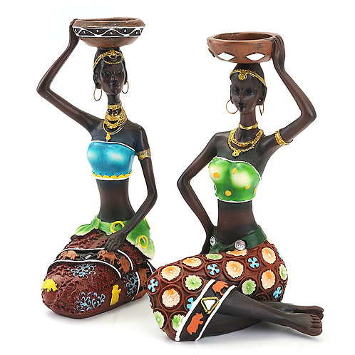 African Woman Candleholders