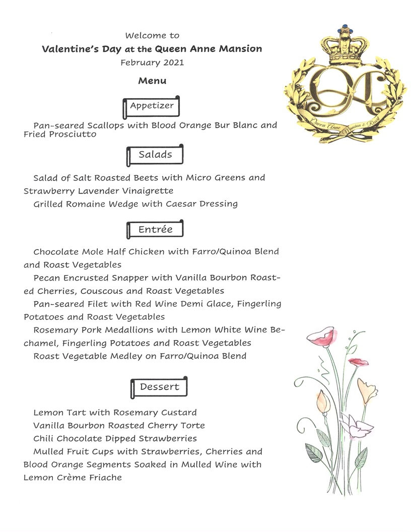 Valentine dinner menu Queen Anne Mansion in Eureka Springs