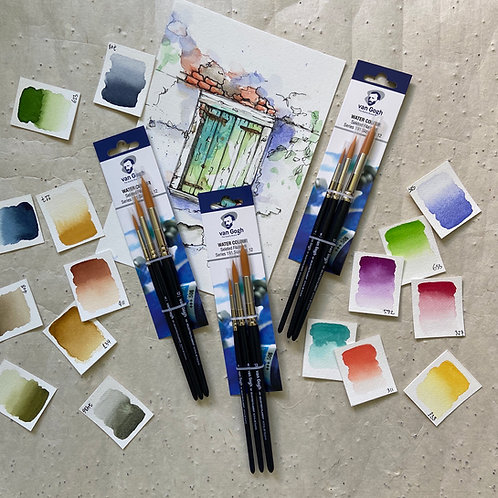 Van Gogh Watercolor Pinselset, series 191 (Nr.4 - Nr. 8 - Nr.12)