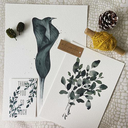 Signed FinArt Print Set: Eucalyptus Bouquet meets Calla Lilie