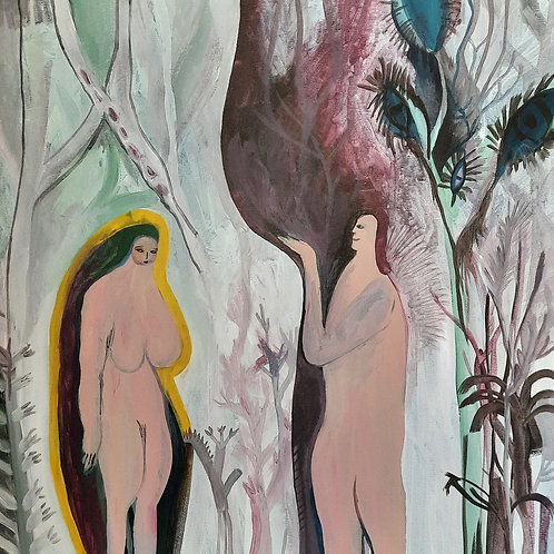 Adam and Eve in Heaven, Original painting on canvas