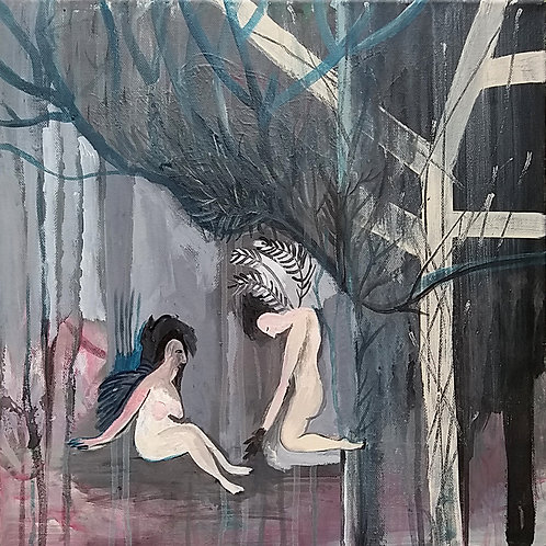 GRAY ANGELS, Original painting