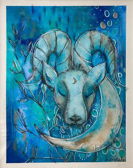 Capricorn, The Sea Goat 8x10, 11x14 inch PRINT