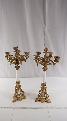 Pair Of 6 Candles Candelabra - Brass And Ceramic