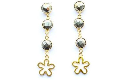 Pyrite Flower Earrings