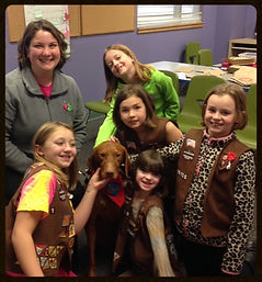 Pet sitting with the girl scouts
