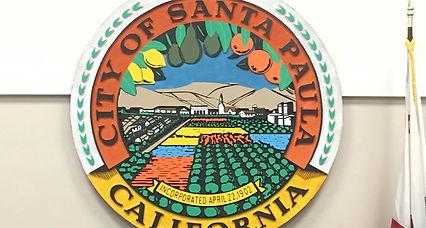 image of santa paula logo and taxi cabs.