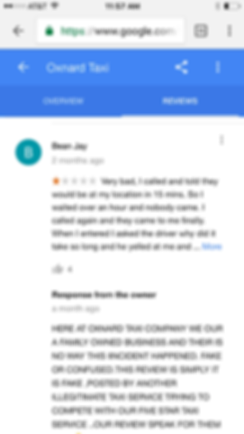 image of a fake taxi review at oxnard taxi