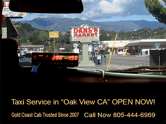 image or our taxi droping off at dahl's market in Oak View Ca. USA
