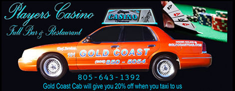 image of taxi cabs at players casino ventura picking up dropping off