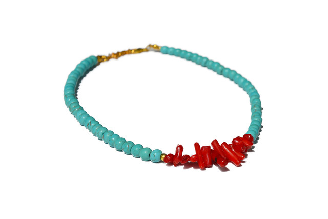 Collier turquoise et corail rouge
