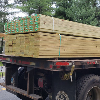 One of weekly lumber deliveries