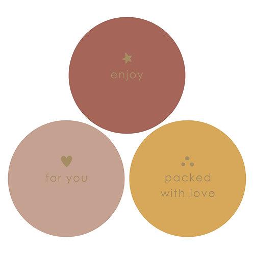 Sticker 'Packed with love' per 3 stuks