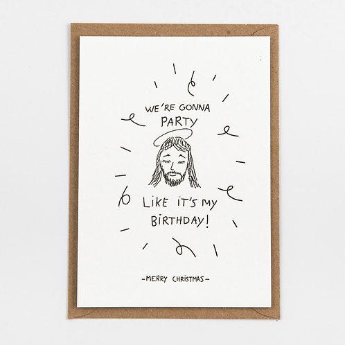 Kerstkaart 'Jezus Birthday'
