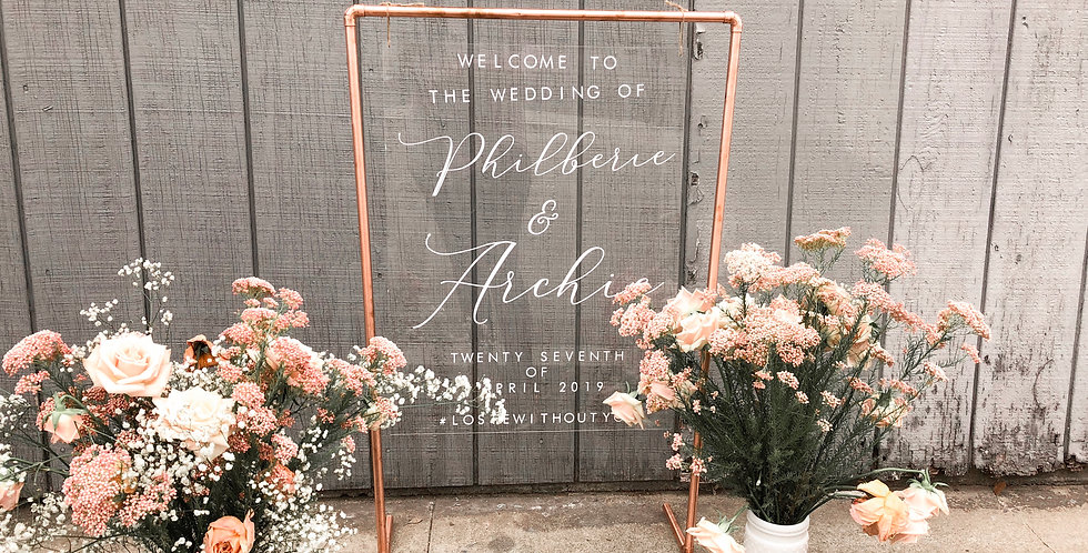 Acrylic Wedding Sign with Copper Stand