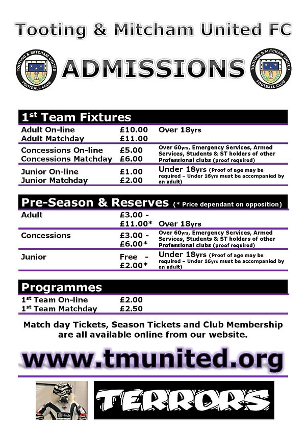 TMUFC Admission Prices Poster 2021-22 Se
