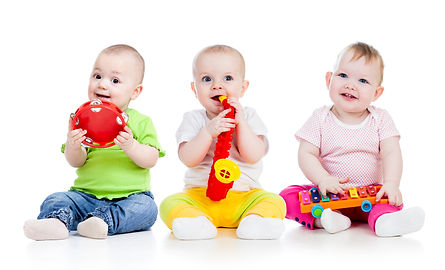 Funny babies girls  group with musical t