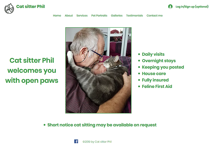 Cat sitter Phil home page
