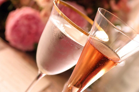 Rose wine and champagne