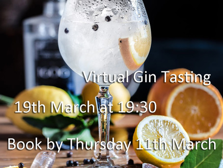 Expert-led 90 minute Zoom interactive virtual gin tasting