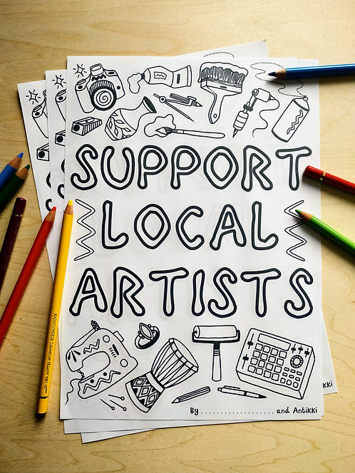 Colouring In Poster - Support Local Artists