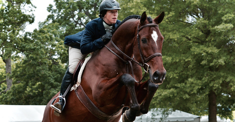 Warmblood horse and rider in the hunter division jumping at Upperville Colt and Horse Show