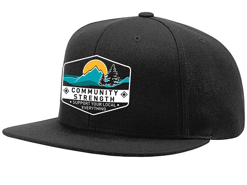 Community Strength - Black Wool Flatbill Snapback
