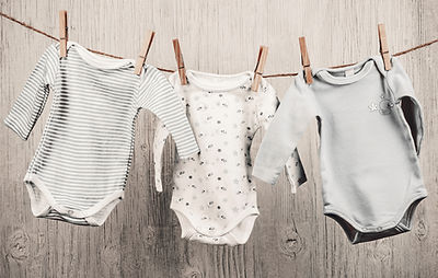 Baby Laundry Hanging on a Clothesline