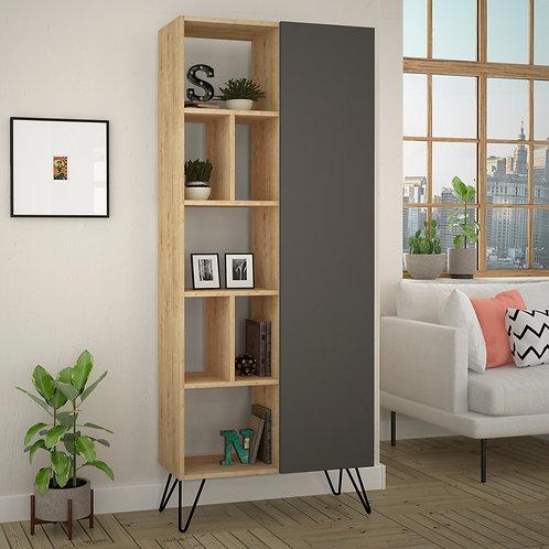 Jedda Bookcase - Oak- Anthracite