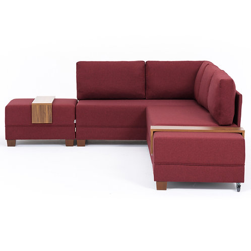 Fly Corner Sofa Bed Left - Claret Red