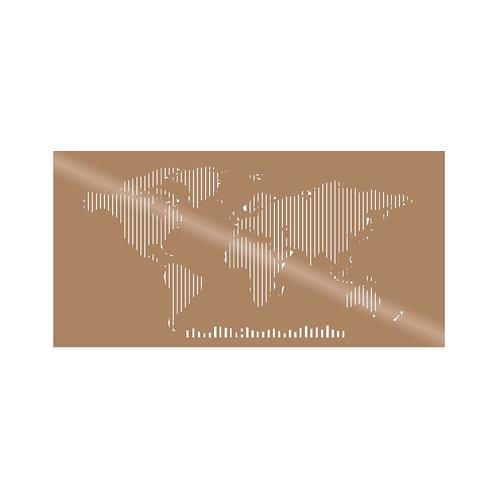 World Map Metal Decor 8 - Copper